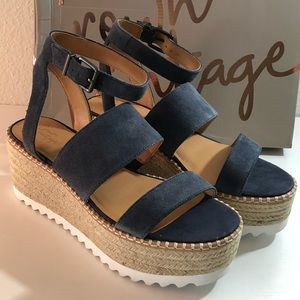 Wedge Blue Suede Ankle-Strap Sandals. Size 9.5